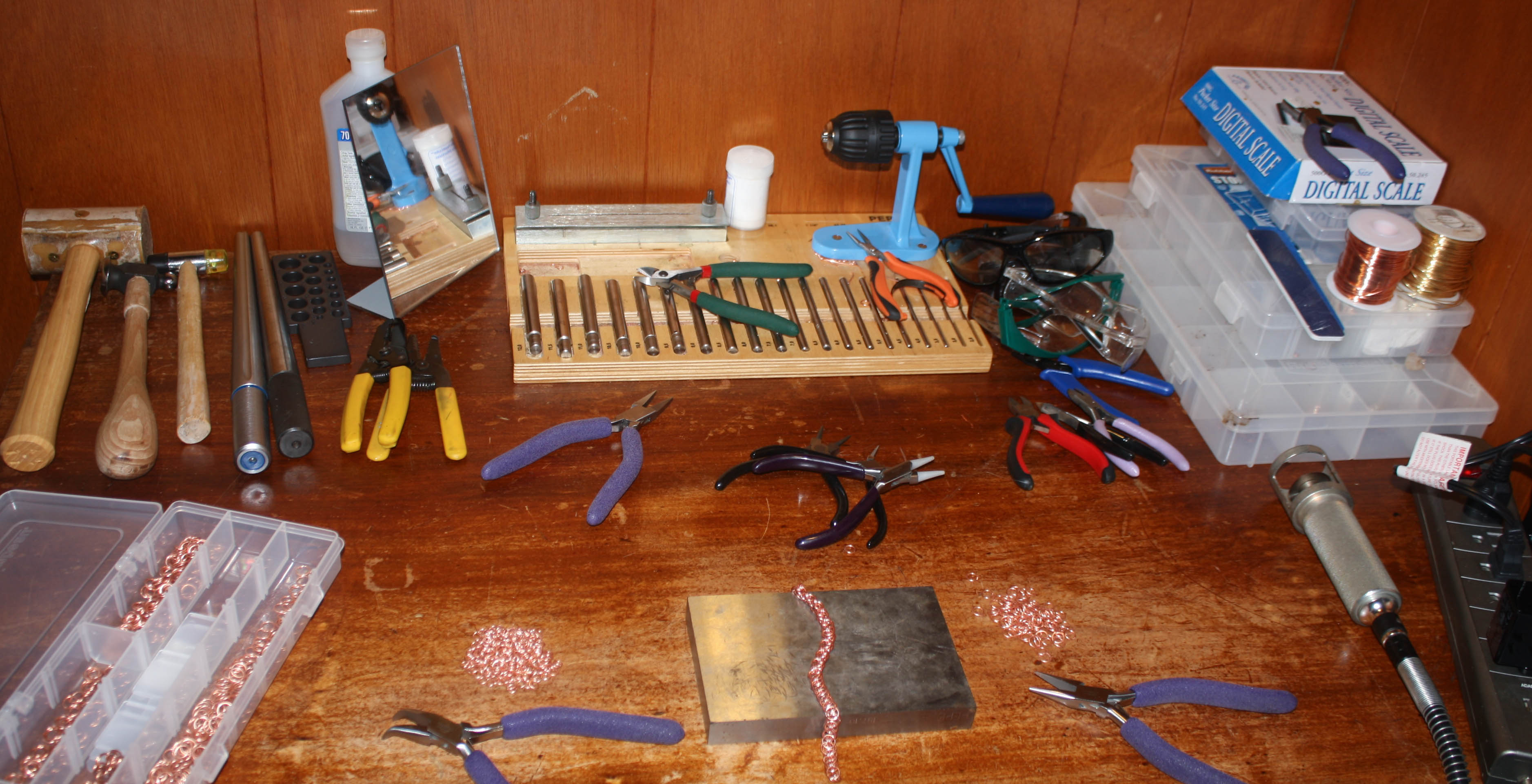 Desk with jewelry tools