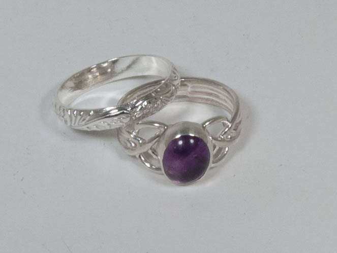 Amethyst and sterling silver ring