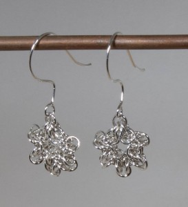 Chainmaille snowflake earrings